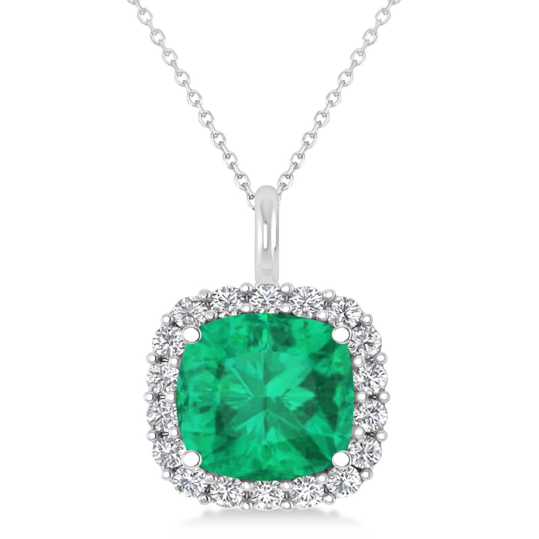 Cushion Cut Emerald & Diamond Halo Pendant 14k White Gold (2.96ct)
