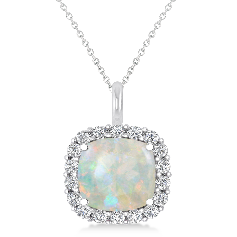 Cushion Cut Opal & Diamond Halo Pendant 14k White Gold (2.76ct)