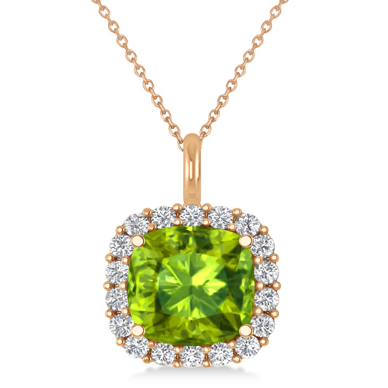 Cushion Cut Peridot & Diamond Halo Pendant 14k Rose Gold (2.96ct)