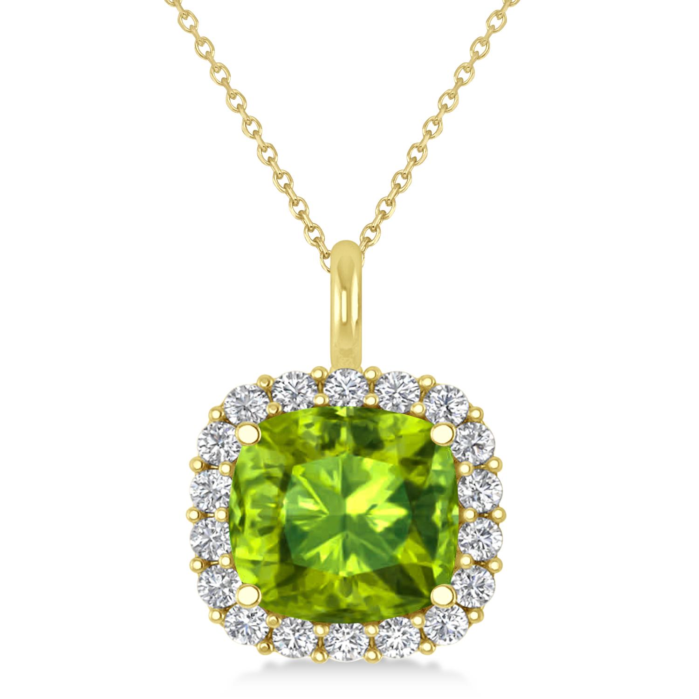 Cushion Cut Peridot & Diamond Halo Pendant 14k Yellow Gold (2.96ct)