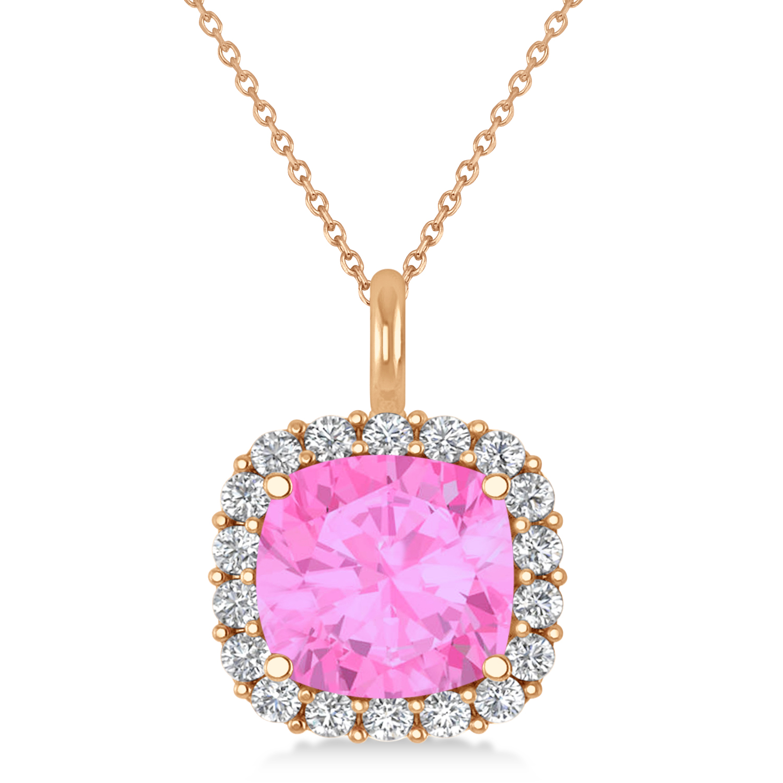 Cushion Cut Pink Sapphire & Diamond Halo Pendant 14k Rose Gold (2.96ct)