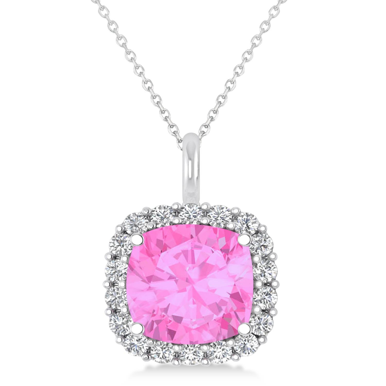 Cushion Cut Pink Sapphire & Diamond Halo Pendant 14k White Gold (2.96ct)