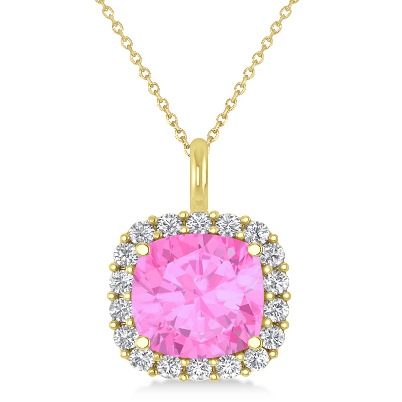 Cushion Cut Pink Sapphire & Diamond Halo Pendant 14k Yellow Gold (2.96ct)