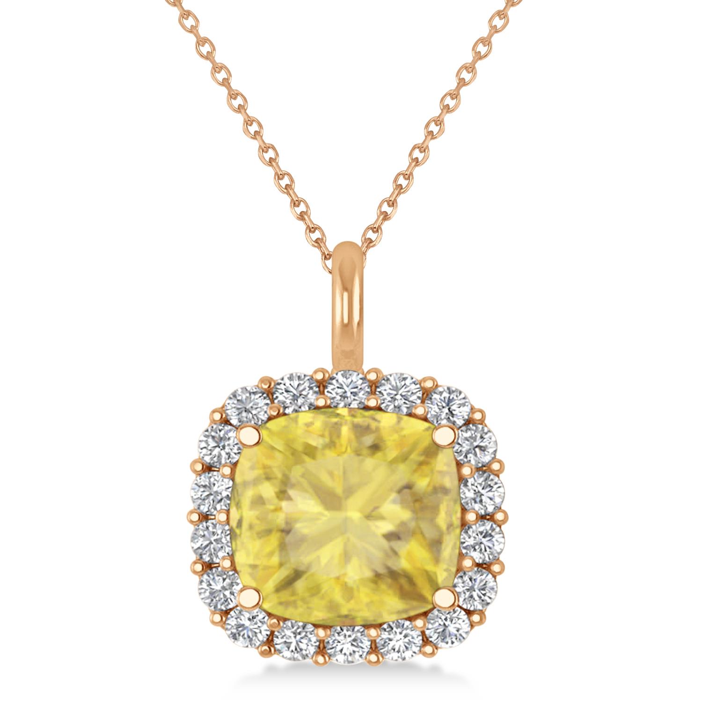 Cushion Cut Yellow & White Diamond Halo Pendant 14k Rose Gold (2.76ct)