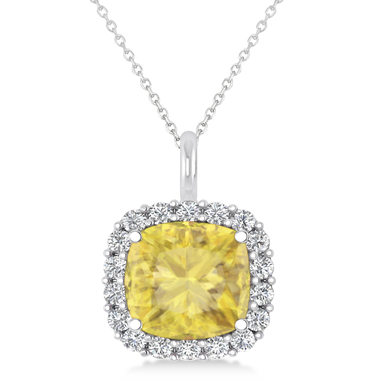 Cushion Cut Yellow & White Diamond Halo Pendant 14k White Gold (2.76ct)