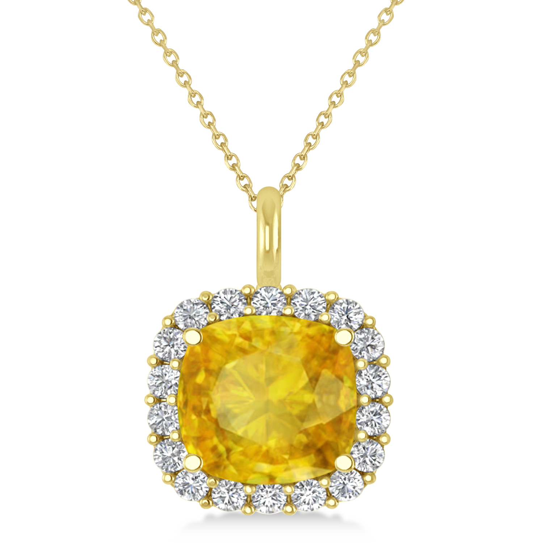 Cushion Cut Yellow Sapphire & Diamond Halo Pendant 14k Yellow Gold (2.96ct)