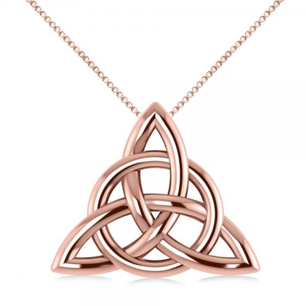 Triangular Irish Trinity Celtic Knot Pendant Necklace 14k Rose Gold