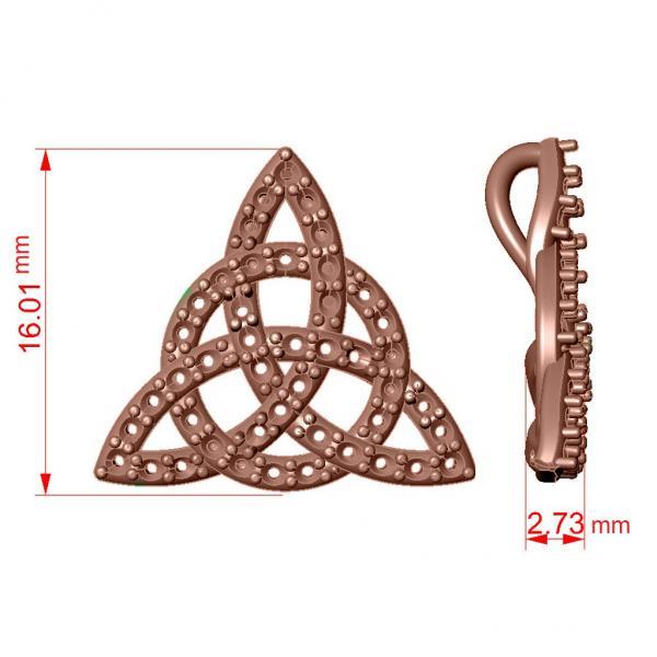 Diamond Trinity Celtic Knot Pendant Necklace 14k Rose Gold (0.45ct)