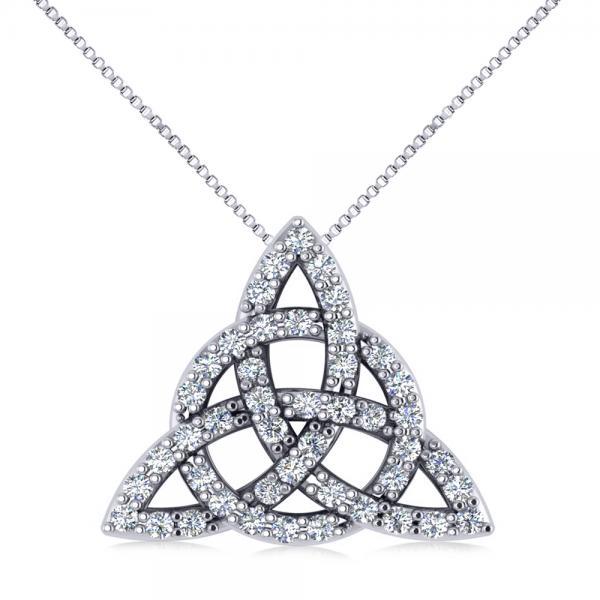 Diamond Trinity Celtic Knot Pendant Necklace 14k White Gold (0.45ct)