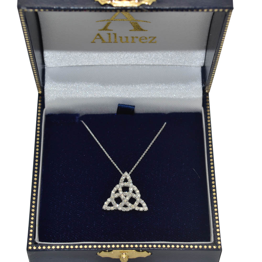 Diamond Trinity Celtic Knot Pendant Necklace 14k White