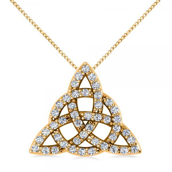 Diamond Trinity Celtic Knot Pendant Necklace 14k Yellow Gold (0.45ct)