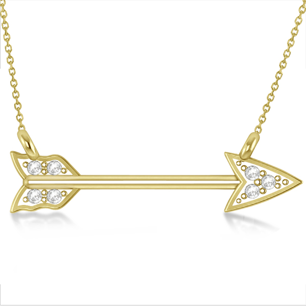 Diamond Cupid's Arrow Pendant Necklace 14k Yellow Gold .04 carat