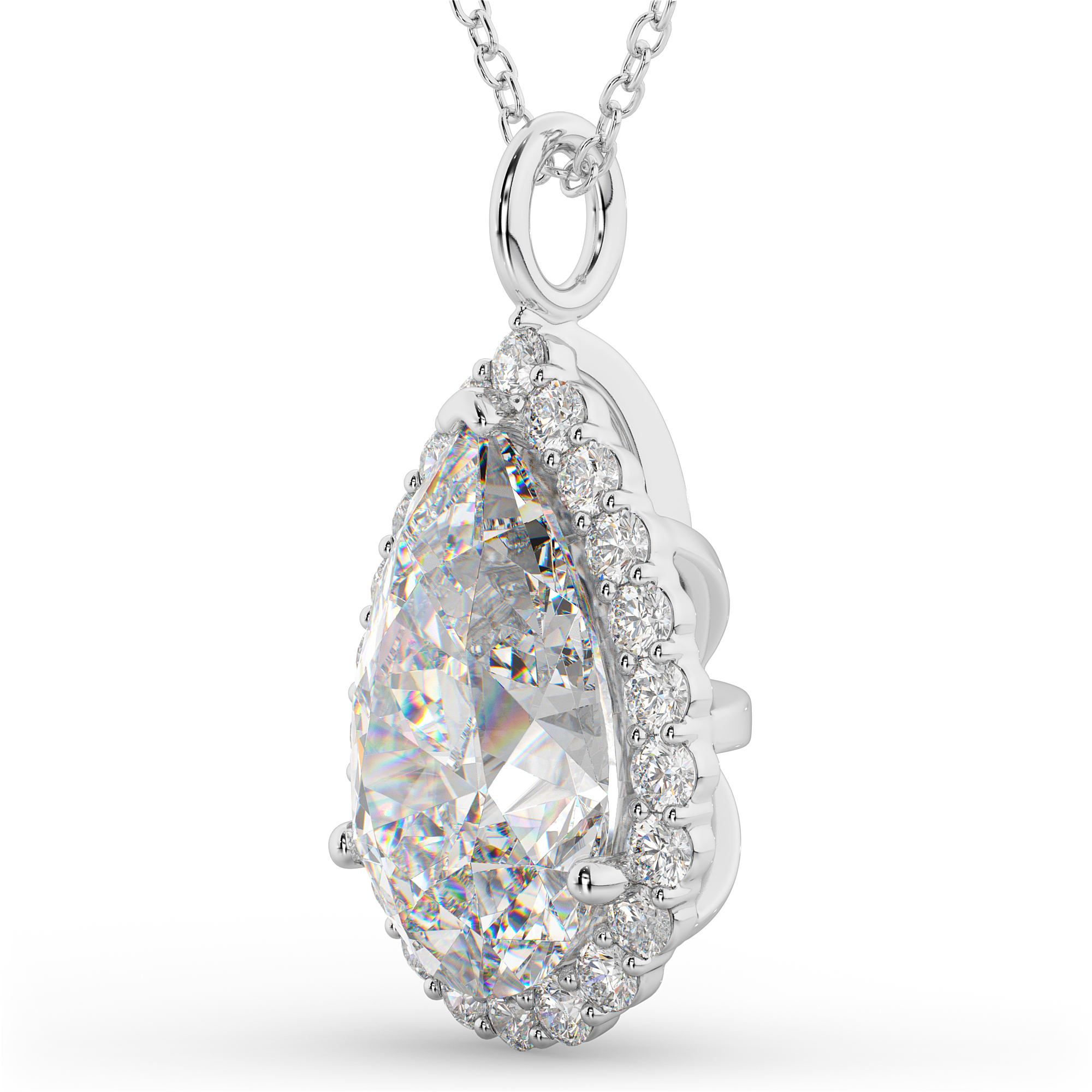 halo shaped pear with dsc pendant double diamond