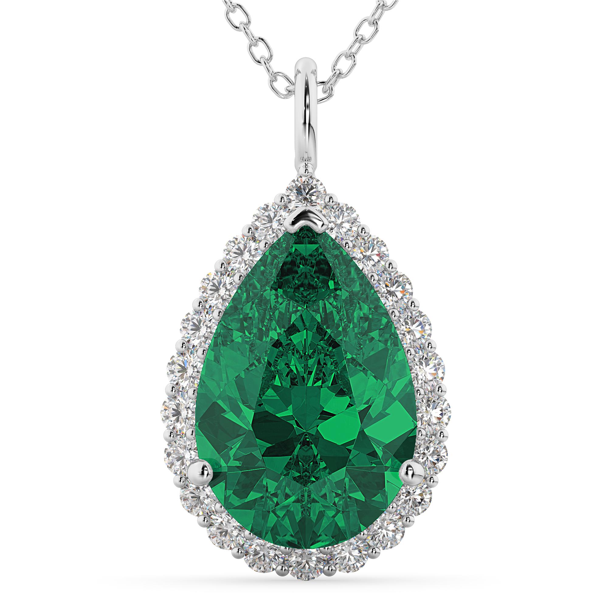 Halo Emerald Amp Diamond Pear Shaped Pendant Necklace 14k