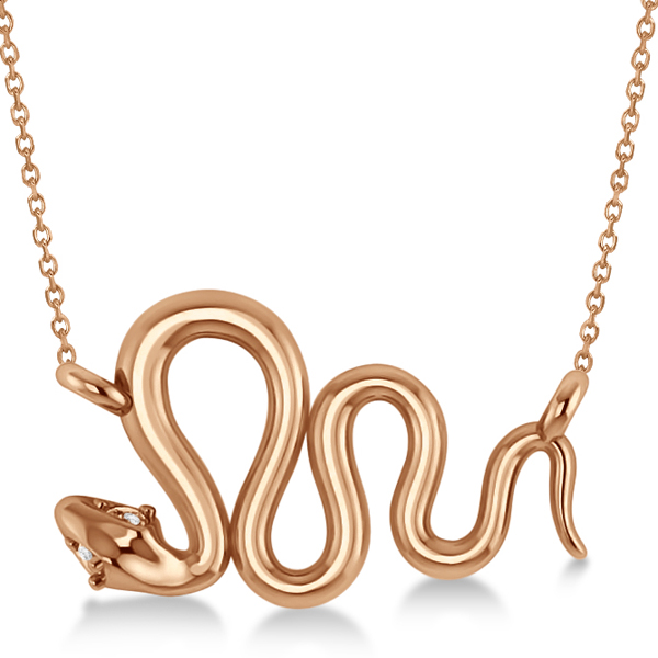 Diamond Swirl Snake Pendant Necklace Women's 14k Rose Gold