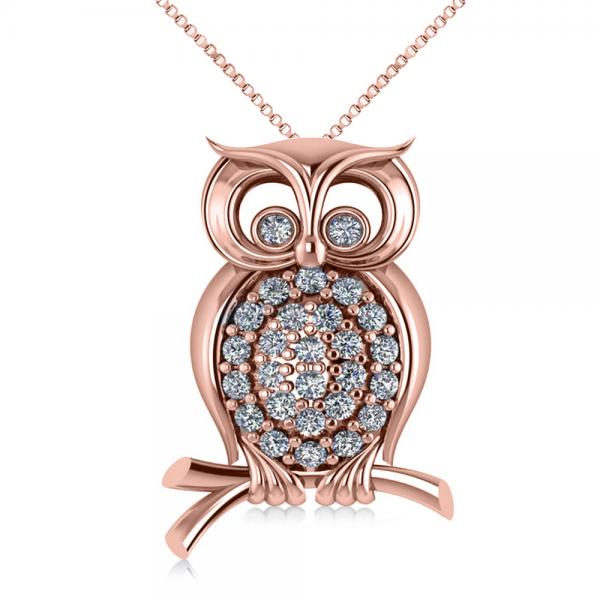 Diamond Accented Owl Pendant Necklace 14k Rose Gold (0.34ct)