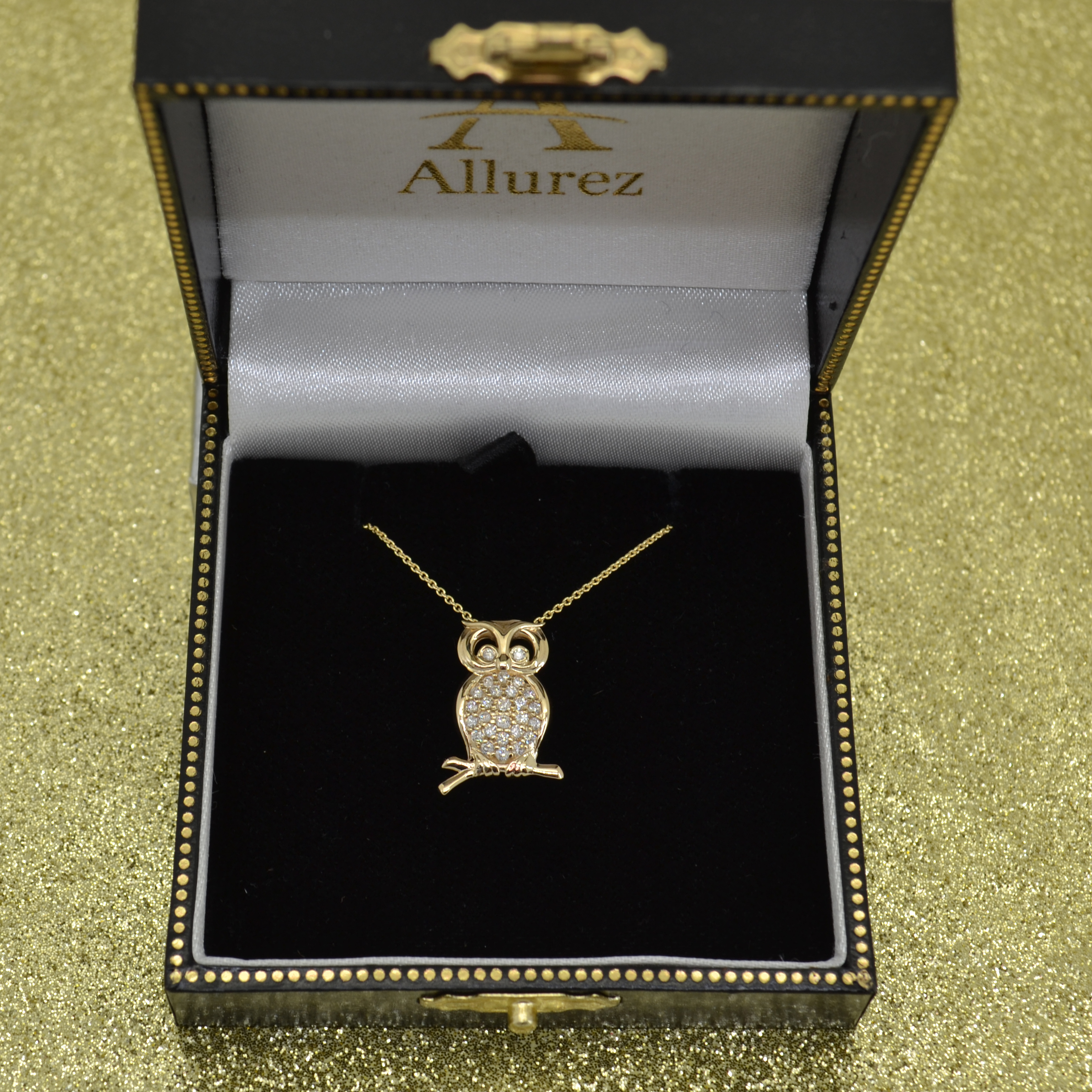 Diamond Accented Owl Pendant Necklace 14k Yellow Gold (0.34ct)