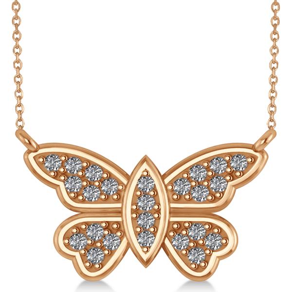 Diamond Butterfly Pendant Necklace 14k Rose Gold (0.24ct)