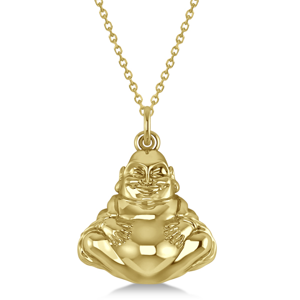 Women's Buddha Necklace Pendant 14k Yellow Gold