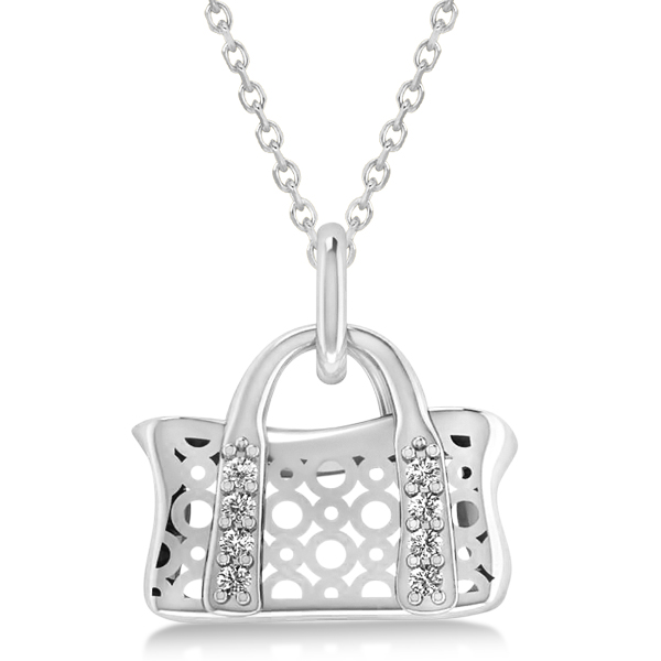 Purse Pendant Necklace with Diamond Accents 14k White Gold (0.08ct)