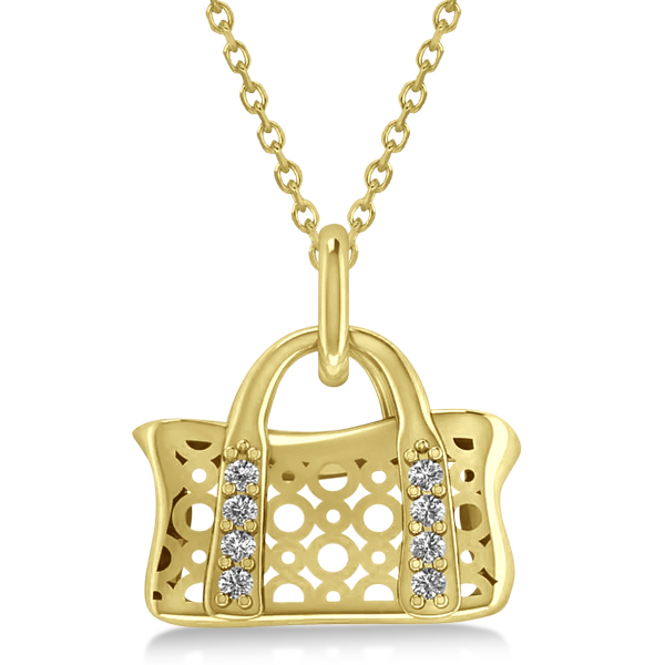 Purse Pendant Necklace with Diamond Accents 14k Yellow Gold (0.08ct)