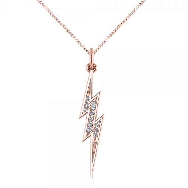 Diamond accented lightning bolt pendant necklace 14k rose for Jh jewelry guarantee 2 years