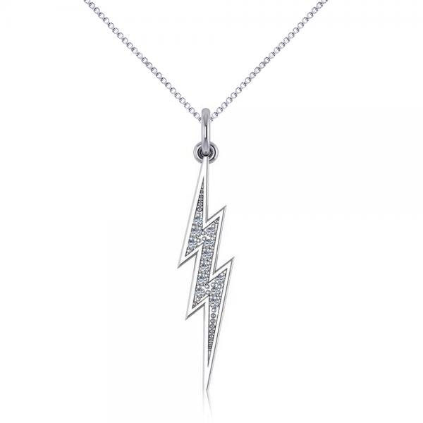 Diamond Accented Lightning Bolt Pendant Necklace in 14k White Gold (0.06ct)