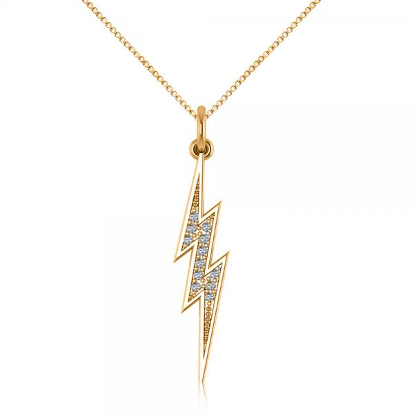 Diamond accented lightning bolt pendant necklace 14k for Jh jewelry guarantee 2 years