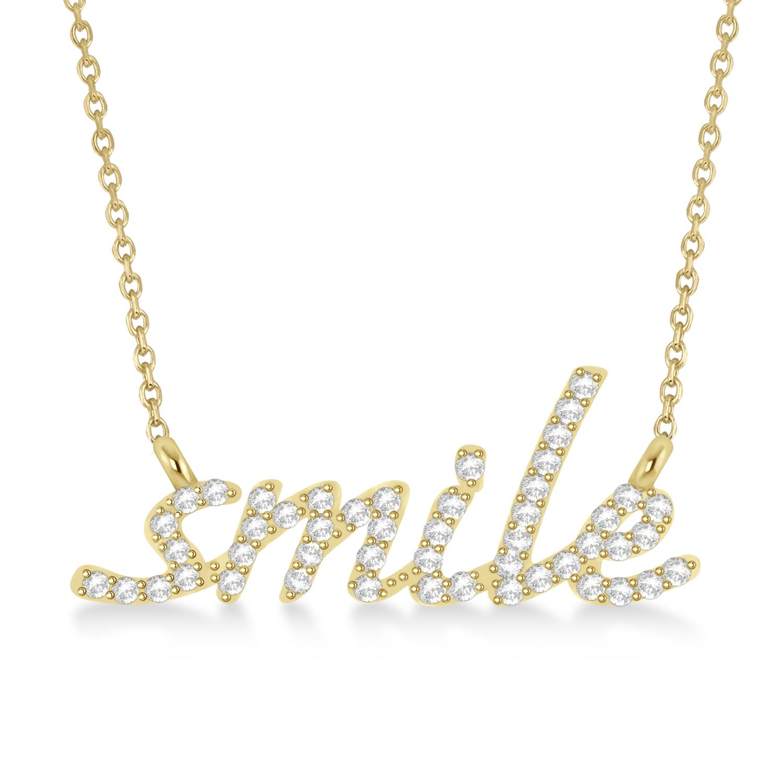 Diamond Smile Pendant Necklace 14k Yellow Gold (0.25ct)