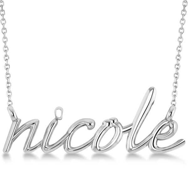 Personalized Script Font Name Pendant Necklace in Solid 14k White Gold