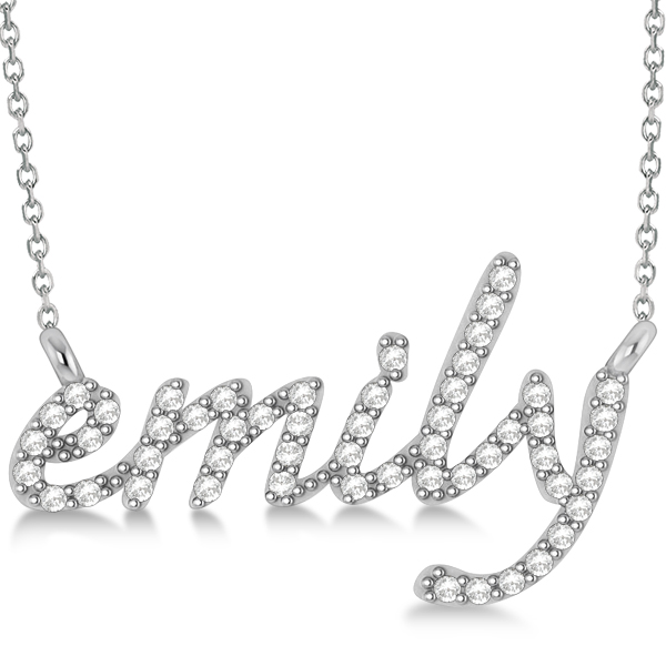 Personalized Diamond Name Pendant Necklace 14k White Gold