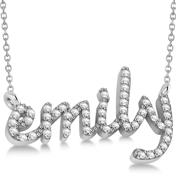 personalized diamond name pendant necklace 14k white gold. Black Bedroom Furniture Sets. Home Design Ideas