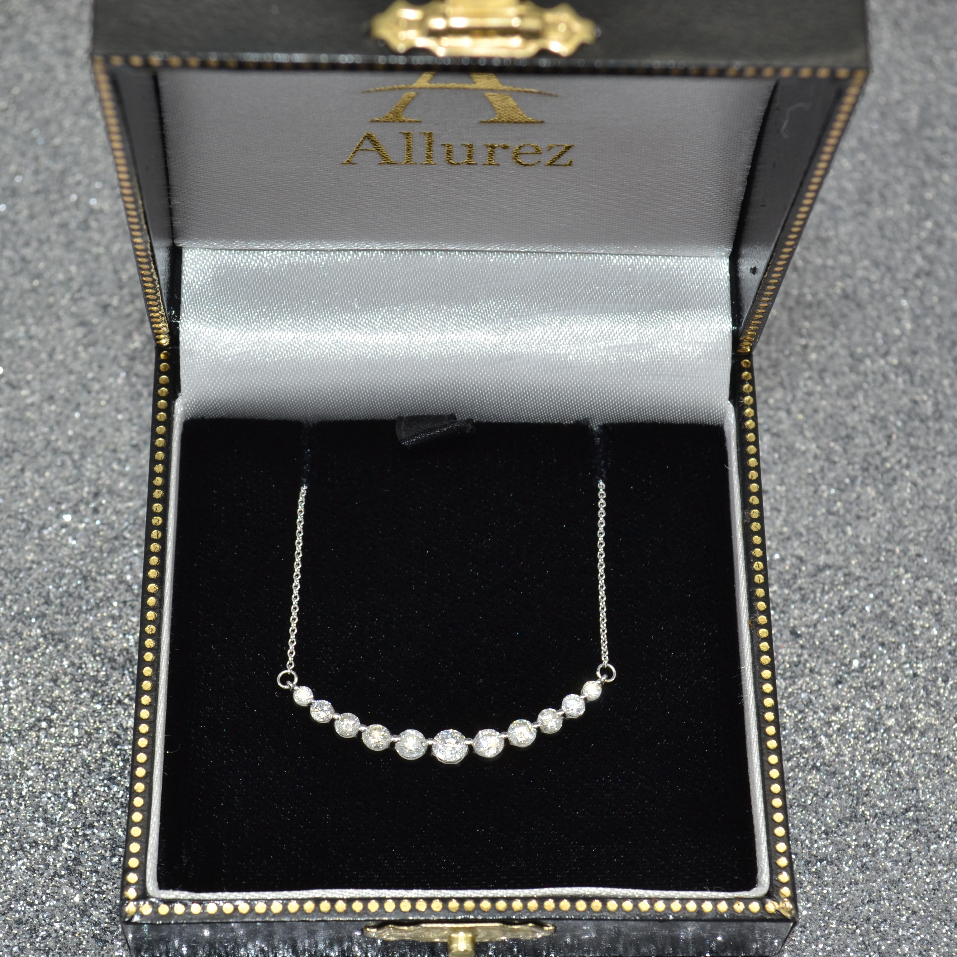 Curved Necklace Diamond Accented 14k White Gold (1.00ct)