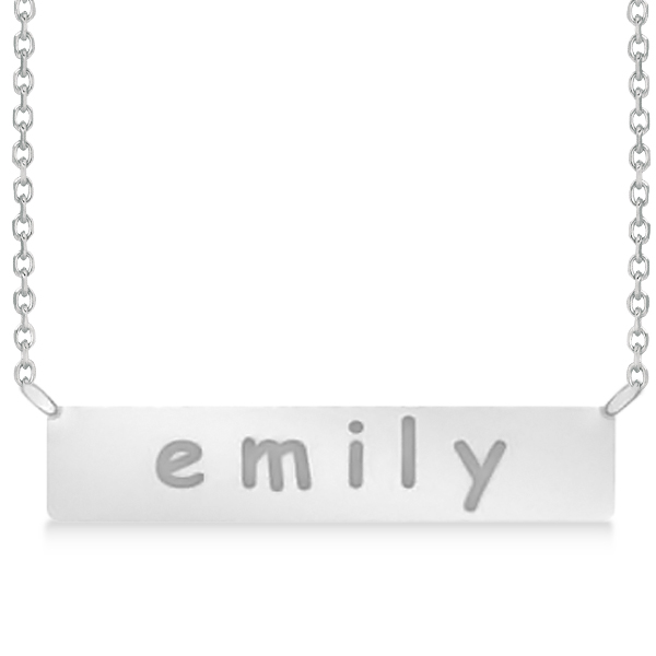 Personalized Engraved Name Necklace Bar Pendant 14k White Gold