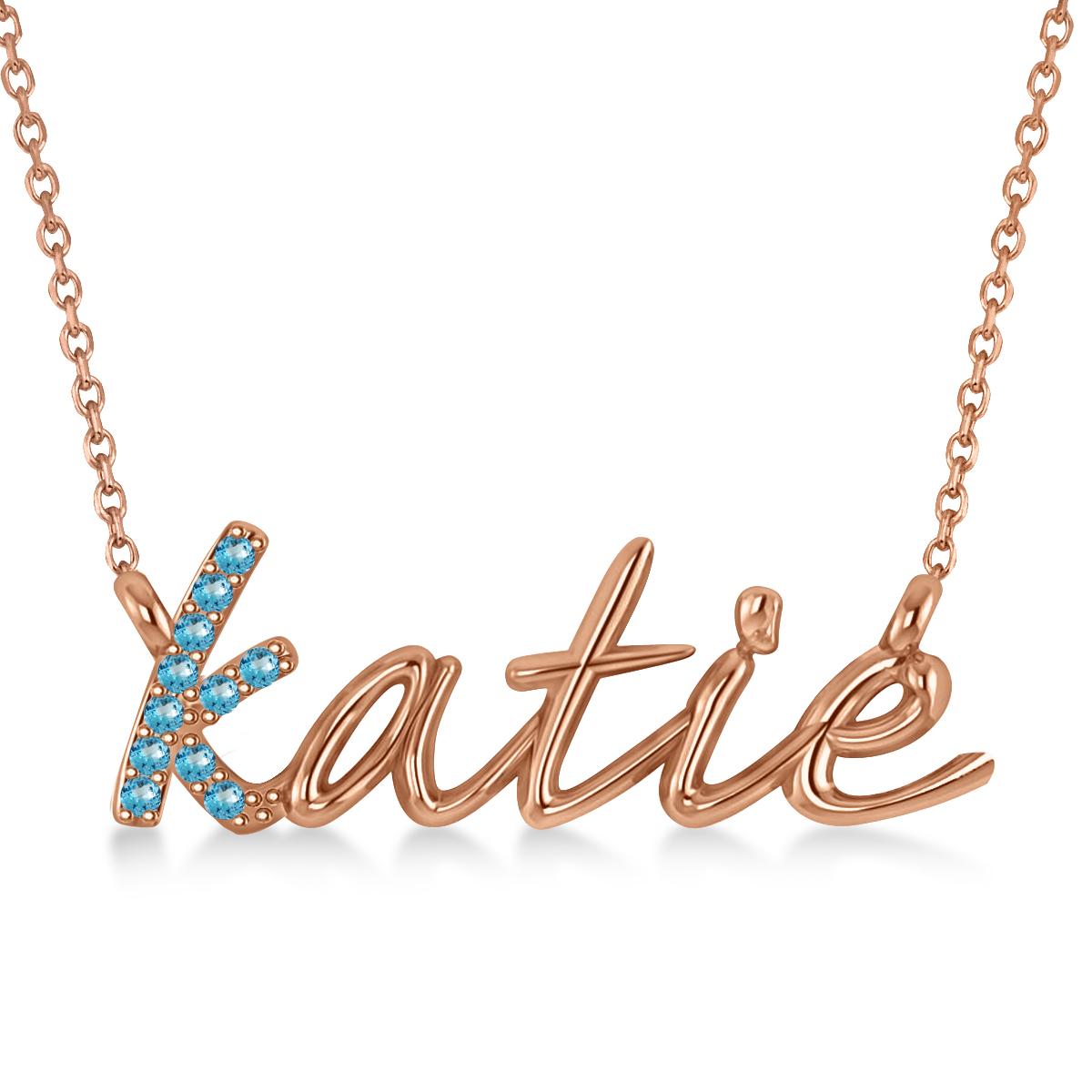 Personalized Blue Topaz Nameplate Pendant Necklace 14k Rose Gold