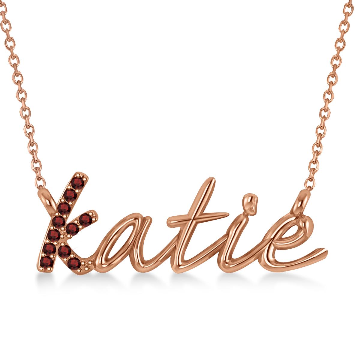 Personalized Garnet Nameplate Pendant Necklace 14k Rose Gold