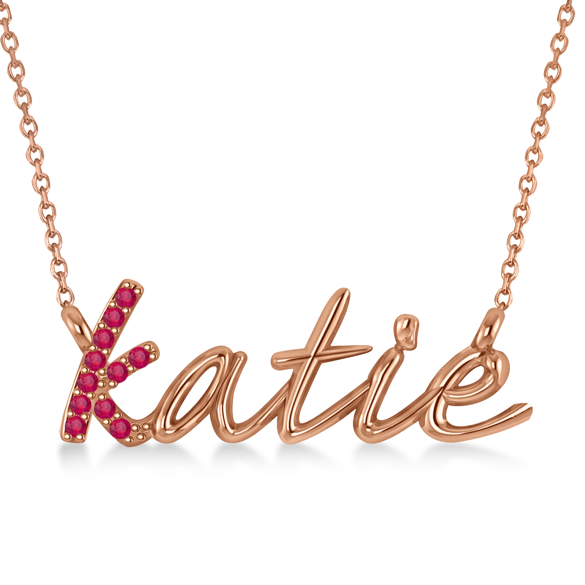 Personalized Ruby Nameplate Pendant Necklace 14k Rose Gold