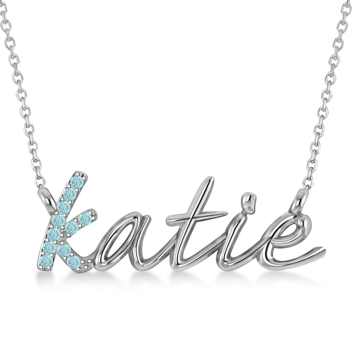 Personalized Aquamarine Nameplate Pendant Necklace 14k White Gold