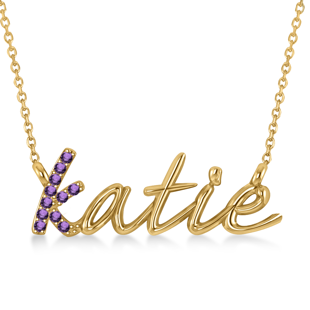 Personalized Amethyst Nameplate Pendant Necklace 14k Yellow Gold
