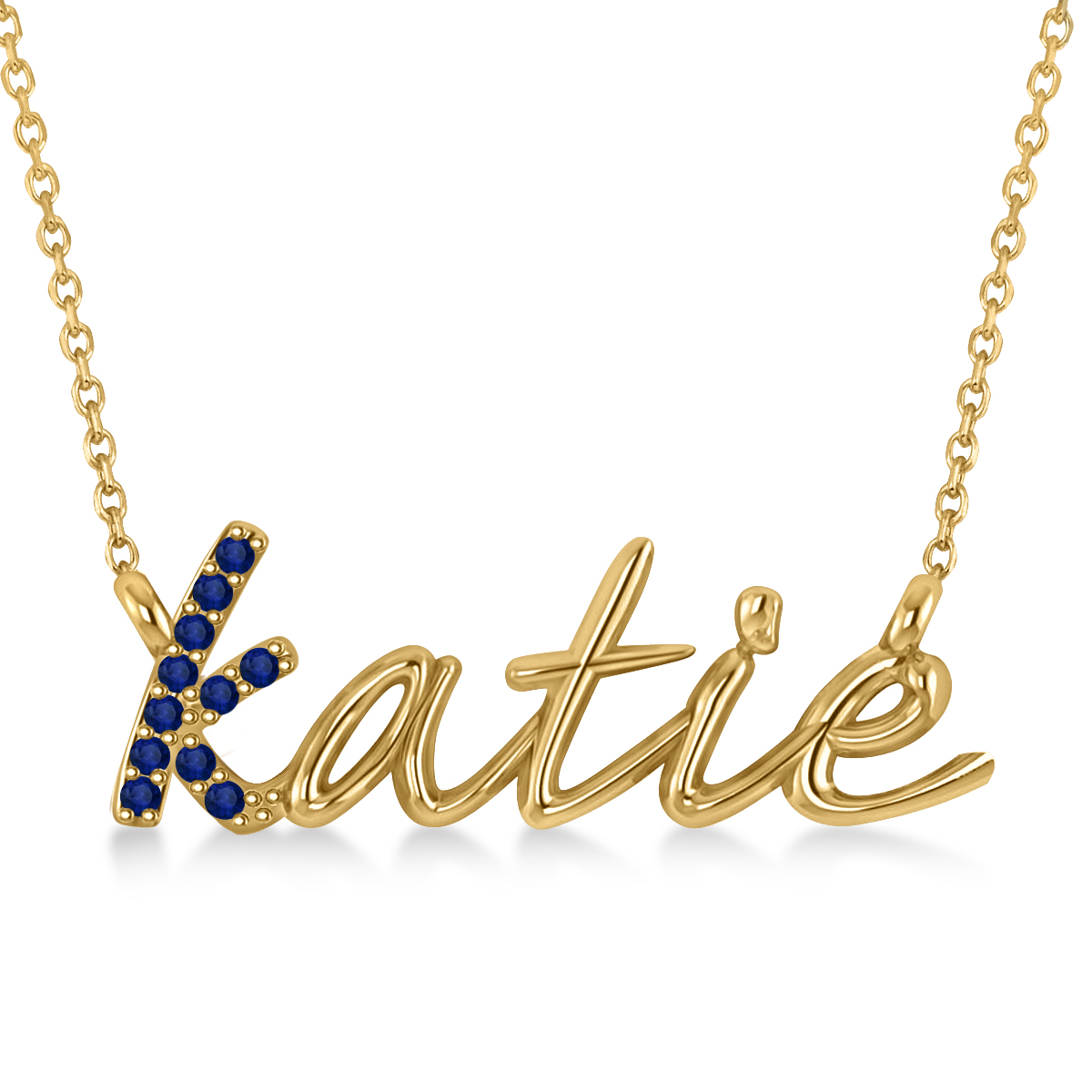 Personalized Blue Sapphire Nameplate Pendant Necklace 14k Yellow Gold