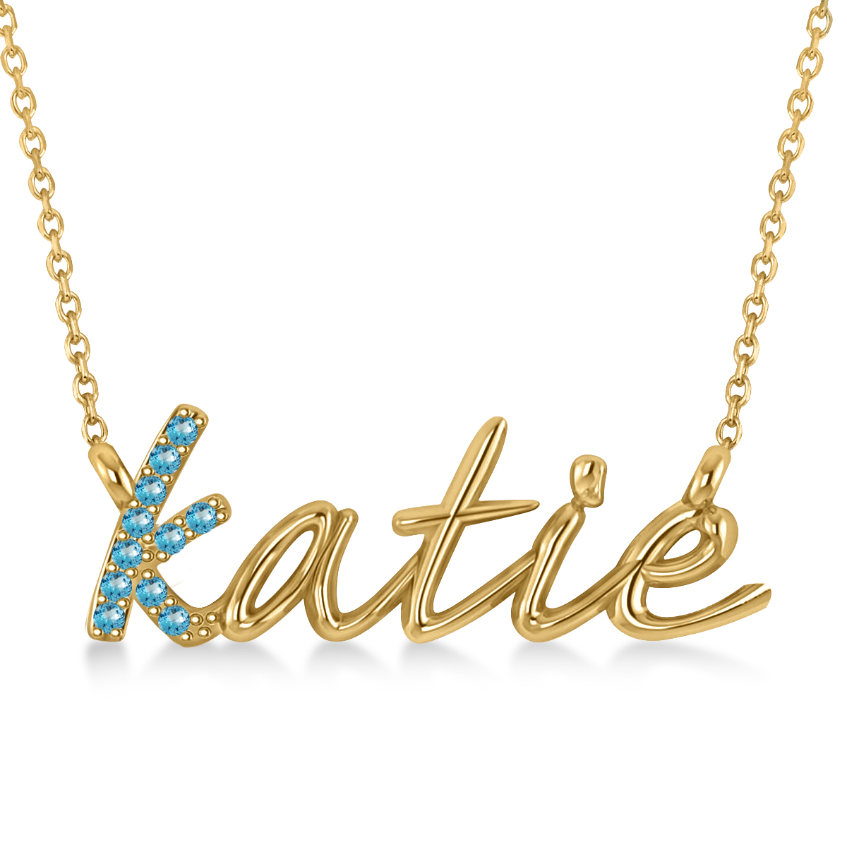 Personalized Blue Topaz Nameplate Pendant Necklace 14k Yellow Gold