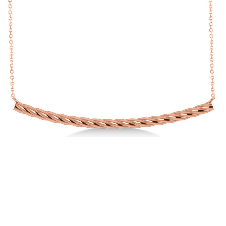 Curved Rope Bar Trapeze Pendant Necklace 14k Rose Gold