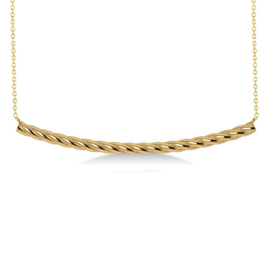 Curved Rope Bar Trapeze Pendant Necklace 14k Yellow Gold