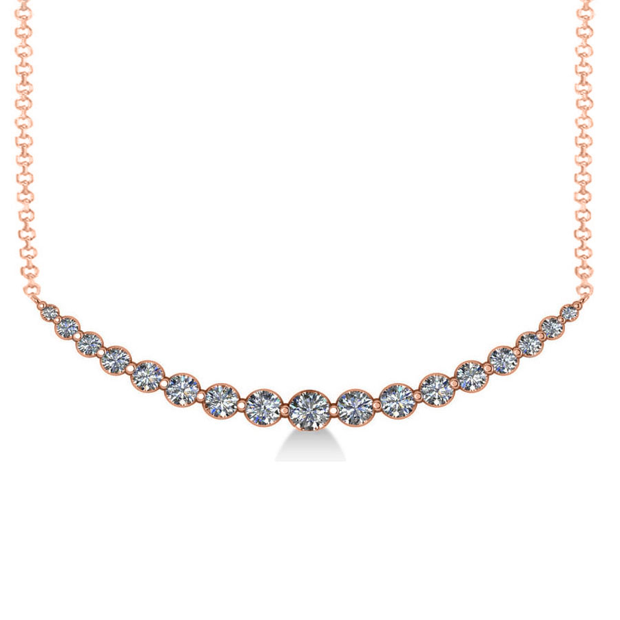 Curved Diamond Accented Pendant Necklace 14k Rose Gold (2.00ct)
