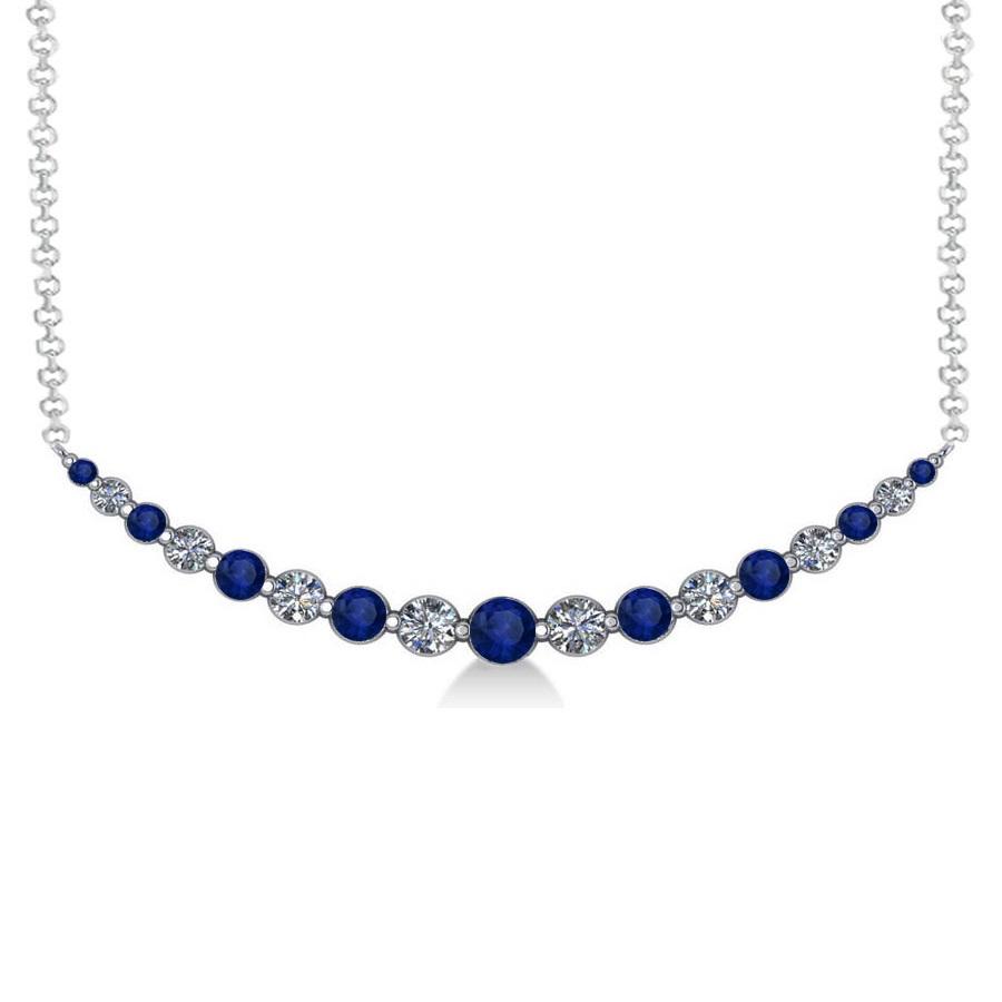 Curved Blue Sapphire & Diamond Bar Pendant 14k White Gold (2.00ct)