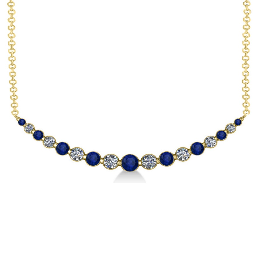 Curved Blue Sapphire & Diamond Bar Pendant 14k Yellow Gold (2.00ct)