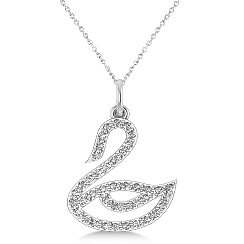 Diamond Swan Pendant Necklace 14k White Gold 0 21ct Allurez