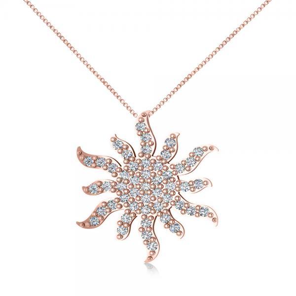 Diamond Starburst Sun Pendant Necklace 14k Rose Gold (0.49ct)