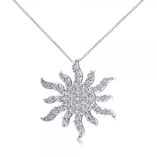 Diamond Starburst Sun Pendant Necklace 14k White Gold (0.49ct)