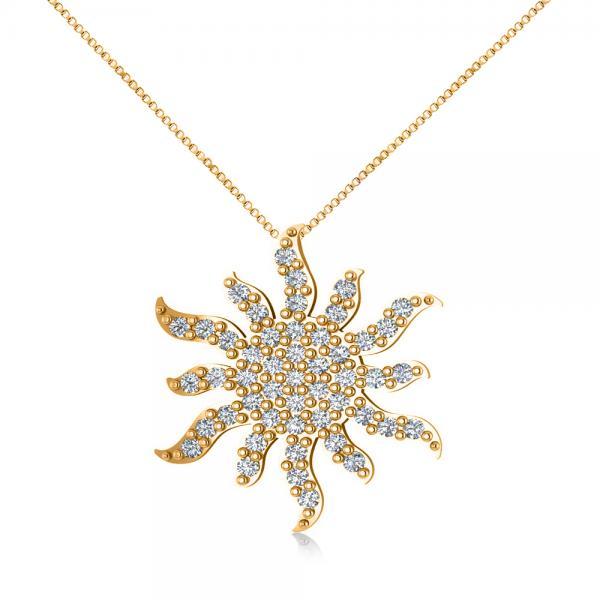 Diamond Starburst Sun Pendant Necklace 14k Yellow Gold 0